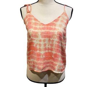 Honey Punch Tie Dye Pink Bow Sleeve Tank Top